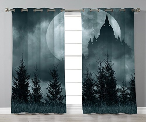 Thermal Insulated Blackout Grommet Window Curtains,Halloween,Magic Castle Silhouette over Full Moon Night Fantasy Landscape Scary Forest,Grey Pale Grey,2 Panel Set Window Drapes,for Living Room Bedroo for $<!--$118.99-->