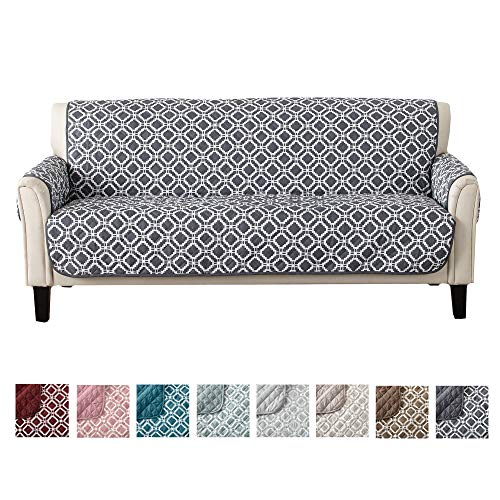 Reversible Couch Cover for 3 Cushion Couch. Printed Sofa Covers for Living Room with Secure Straps. Protect from Kids, Dogs and Pets. (74 Sofa, Steel Grey)