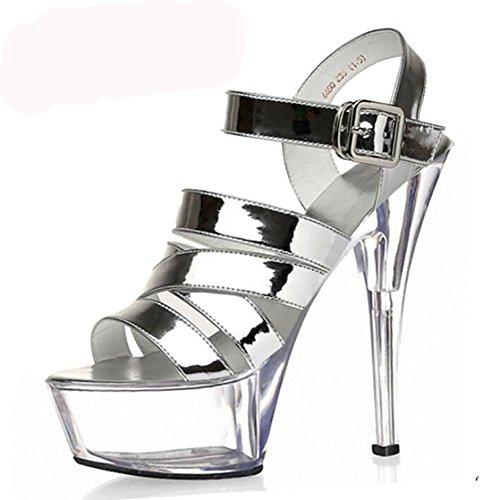 Mode Printemps Eté en cuir pour femme boucle de ceinture en cristal creux haut Heeled Sandals luxe Waterproof Chaussures Or Couleur unique , silver , 45
