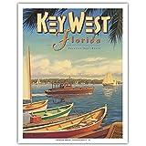 Key West, Florida - Vacation Year-Round - Ernest Hemingway's Yacht Pilar - Vintage Style World Travel Poster by Kerne Erickson - Fine Art Print - 11in x 14in