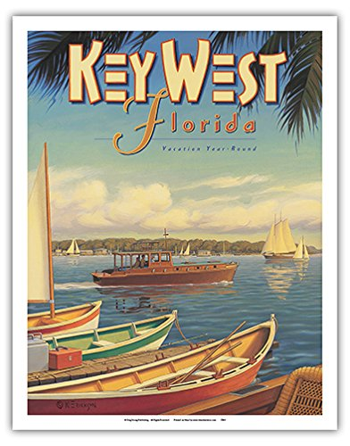 Key West  Florida   Vacation Year Round   Ernest Hemingways Yacht Pilar   Vintage Style World Travel Poster By Kerne Erickson   Fine Art Print   11In X 14In