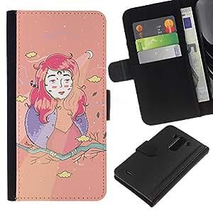 KingStore / Leather Etui en cuir / LG G3 / Chica Kids Dibujo Creativo