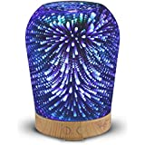 3D Essential Oil Diffuser, GLISTENY Glass 100mL Aromatherapy Diffuser, Ultrasonic Aroma Cool Mist Humidifier, 16 Color Night Light Changing, Auto Shut-off Function, for Office Bedroom Yoga