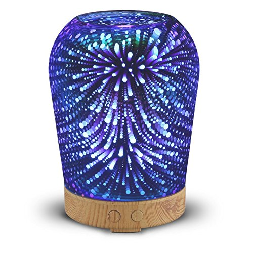 Aromatherapy Oil Diffuser, GLISTENY 100mL 3D Essential Oil Diffuser Auto Shut-off Ultrasonic Aroma Cool Mist Humidifier with 16 Color Night Light Changing for Christmas Gift, Home Decoration - Add Ultra Hardware