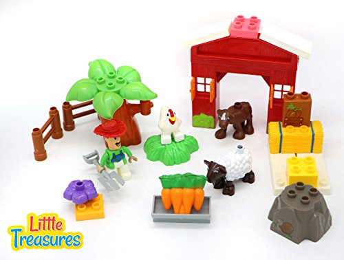 Farmhouse Toy Box (Farmer Pete Do It Yourself 25 Piece Custom Farmhouse Duplo Compatible Building Brick Set That Includes Farm Animals Construction Block)
