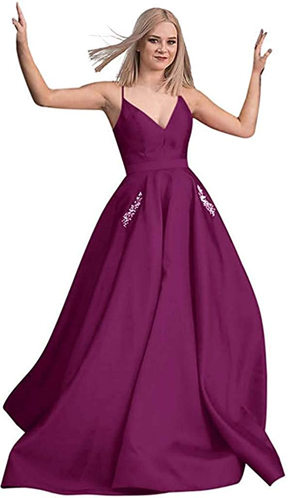 Grape RTTUTED Satin Beaded Prom Dresses Long Ball Gowns for Women Pockets Formal Evening