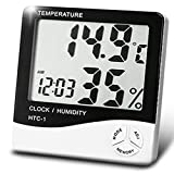 BEMAGSA Digital Hygrometer Indoor Outdoor Temperature and Humidity Minitor Display Alarm Clock Calendar LCD Multi-function Hygrometer Children's Home Car Office