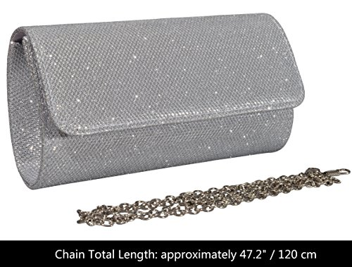 Women's Clutch Silver Party with Purse Bag Evening Chain Glitter Wedding Outrip Handbag 7ZxwUdq7