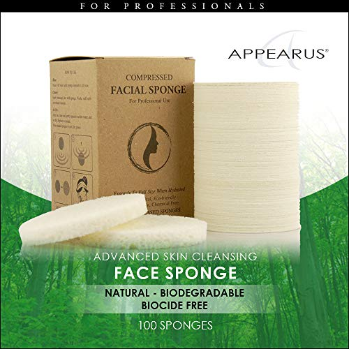 Appearus Compressed Natural Cellulose Facial Sponges, White, Made in USA (100 count/S1901W) by Appearus (Image #1)