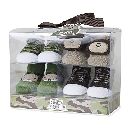 Baby Hunting and Camo Clothes Deer Layette 4 Piece Set and 4 Pairs of Socks Set 0-3, 3-6 Months (4 Pairs of Socks Set)