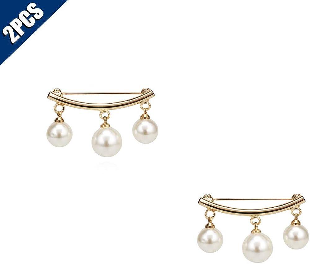 Women/'s Elegant Pearls Collar Clip Charm Brooch Shawl Clip Safety Pins Jewelry