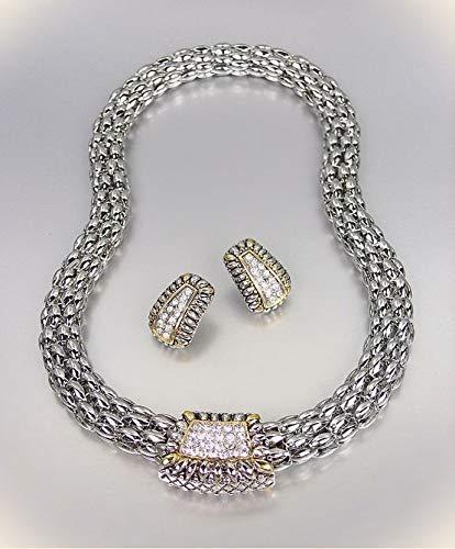 Barrel Hoop Earring Set - Designer Style Pave Cz Crystals Silver Gold Barrel Mesh Necklace Earrings Set For Women