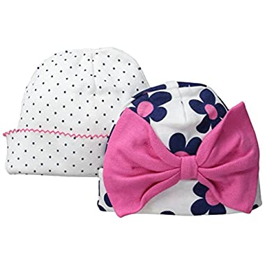 Gerber Baby-Girls Novelty Cap, Flowers, 0-6 Months (Pack of 2)