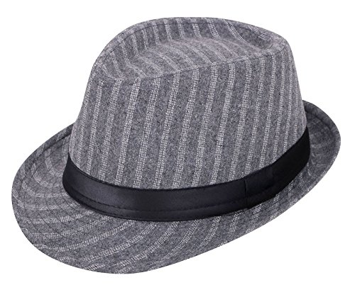 Verabella Mens Classic Striped Manhattan Trilby Short Brim Fedora Hat,Grey/Black (Mens Fedora Striped)
