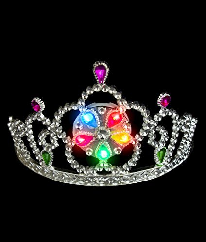 - Fun Central O968 3ct LED Light Up Tiara, Glowing Princess Tiara, Light Up Crown for Kids - Perfect for Halloween Parties, Princess-themed Birthday, Costume Parties and Stage Plays - Multicolor