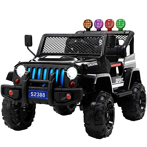 Uenjoy Ride on Car with Remote Control 12V Electric Car for Kids, Music, Story Playing, Colorful Lights, Sunshine Model, Black (Best Remote Control Car 5 Year Old)