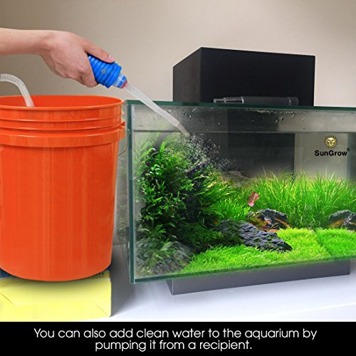 Aquarium Sand Cleaner Kit with priming bulb -- 2-minutes to assemble - Facilitates frequent water changes - No need to remove fish or plants - BPA-free Siphon - Perfect for cleaning small fish tanks
