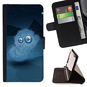 BullDog Case - FOR/HTC One M8 / - / furry alien monster big eyes mountains sky stars /- Monedero de cuero de la PU Llevar cubierta de la caja con el ID Credit Card Slots Flip funda de cuer