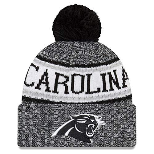 動く調整可能選出するニューエラ (New Era) NFL サイドライン 2018 ボブル ビーニー帽 カロライナ?パンサーズ (Carolina Panthers)