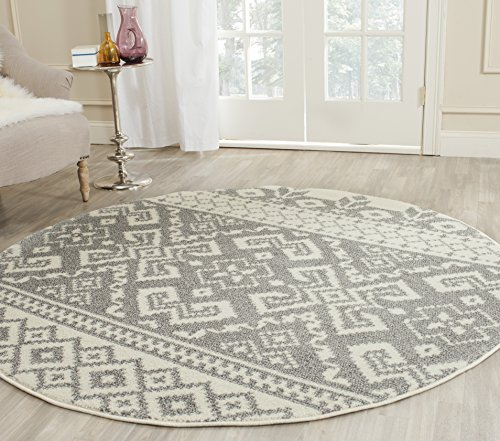 Safavieh Adirondack Collection ADR107B Ivory and Silver Rustic Bohemian Round Area Rug (10' Diameter)
