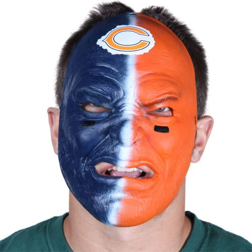 - NFL Chicago Bears Navy Blue-Orange Fan Face Mask