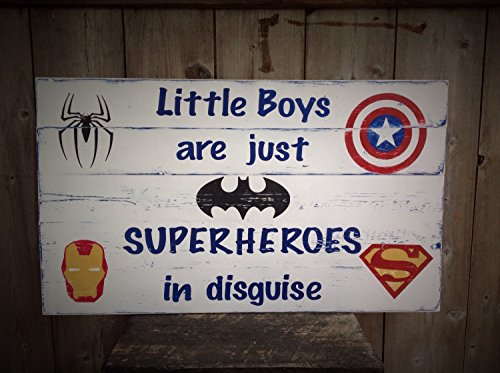 (Custom order Little Boys are just Superheroes in disguise Sign Measures 24Inches wide by 14.4 inches tall Superhero Superhero Sign)