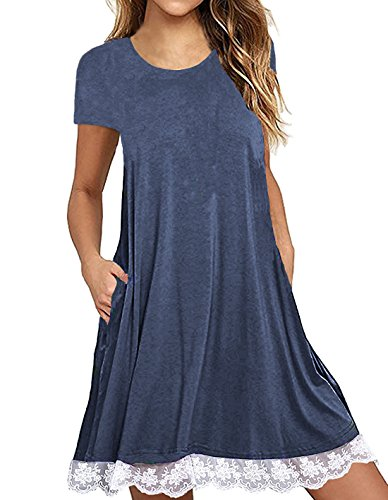 Our Precious Women's Short Sleeve Pockets Casual A-Line Swing Lace T-Shirt Dress Navy Blue 2L -