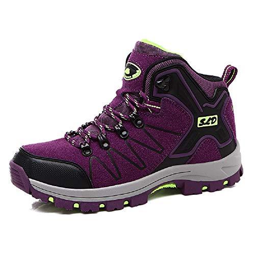 Qiusa Zapatos de Cuero Mujer Senderismo Caminar Zapatillas de Deporte al Aire Libre (Color : Rojo, tamaño : EU 36) Púrpura