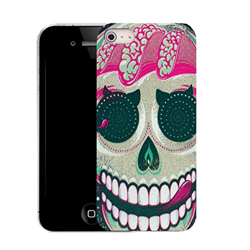 Mobile Case Mate IPhone 4 clip on Silicone Coque couverture case cover Pare-chocs + STYLET - pink licking skull pattern (SILICON)