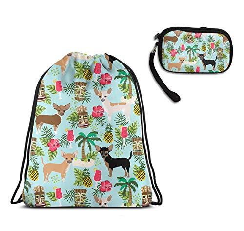 Travel Drawstring Backpack, Lightweight Cinch Sackpack - Chihuahua Dog Pineapple Drawstring Rucksack, Large Waterproof Daypack + Ladies Purse Card Holder Organizer