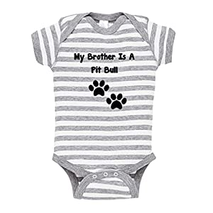 Cute Rascals My Brother is A Pit Bull Paws Baby Kid Stripe Fine Jersey Bodysuit Grey 6 Months