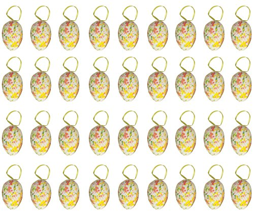 36 Pack Plastic Easter Egg Ornaments Home Decorations - Decorative Hanging Easter Eggs for DIY Crafts and Assorted Easter Decorations, Watercolor Designs, Multicolor, 3 x 1.75 x 1.75 Inches