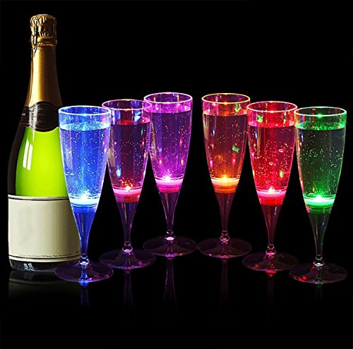 Wedding LED Light Wine Flute, Flute's Light Up Flashing Cups LED Liquid Activated for Bar Night Club Party Drink Christmas Wedding Party Decoration (6 Pack)