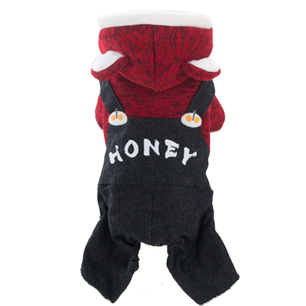 RED M (weight 3-3.5 kg) RED M (weight 3-3.5 kg) GJFeng Small Dog Thicker Bib Puppy Dog Clothes Than Xiong Bomei Puppies Pet Autumn Warm Winter Four-Legged Clothes Thicker Bib color   RED, Size   M (Weight 3-3.5 kg)
