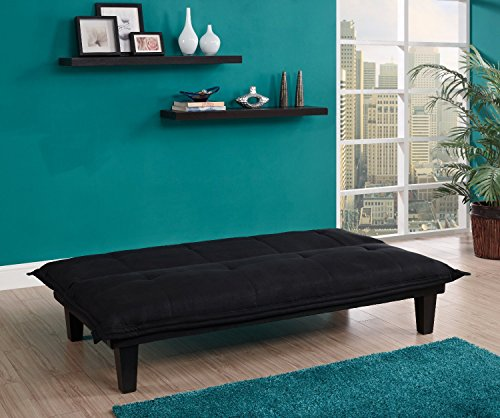 Black Microfiber With Adjustable Back Klik Klak Sofa Futon