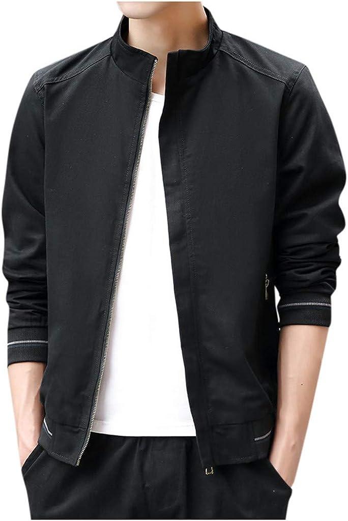 Alvinm Mens Outwear Winter Warm Casual Fashion Pure Color Jacket Zipper Outwear Coat Tops