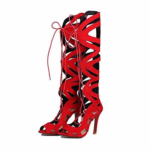 de gules cordones de del canister botas tacones zapatos Lace zapatos altos mate gamuza Up Tamaño 6AaqnSwY