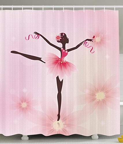 Ballerina Ballet Dancer Trees Polka Dots Artistic Gymnastic Ballet Skirt Art Lover Girl Nursery Bathroom Kids Decor for Teen Girls Design Polyester Fabric Shower Curtain, Pink Fuchsia Brown Ivory