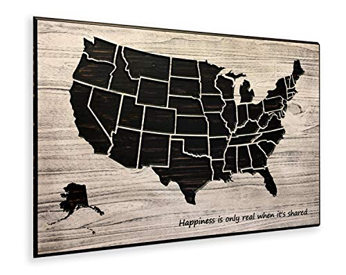 United States Map Happiness is only Real When its Shared US Map Push Pin Map Wood Plaque Wall Art Wooden Map State Lines Custom (Map United Wooden Art Wall States)