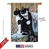 Breeze Decor PT-H-110079-IP Tuxedo Cat Decorative Vertical House Flag, 28″ x 40″, Multicolor For Sale