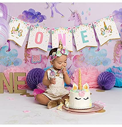 Amazon JETTINGBUY Unicorn 1st Birthday Banner Rainbow
