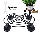 Heavy Duty Black Iron Plant Caddy - 88LB 10''-12.5'' Metal Plant Stand with wheels Round Flower Pot Rack Plant Stand On Rollers Dolly Plant Holders on wheels Indoor Outdoor Plant Saucers