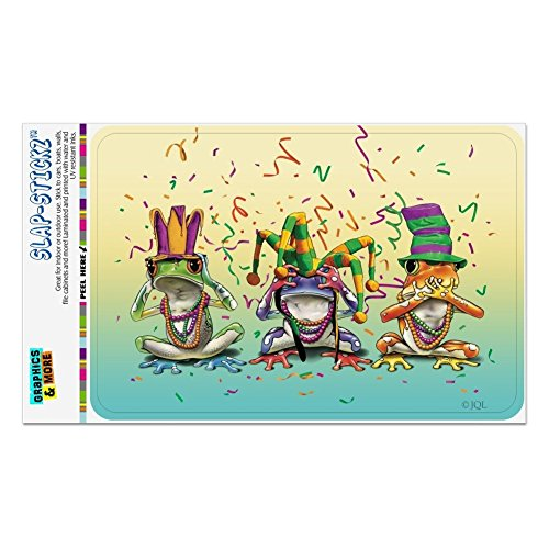 Graphics and More Party Frogs Mardi Gras See No Evil Hear Speak Home Business Office Sign - Window Sticker - 4