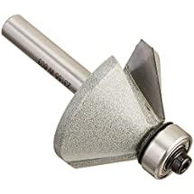 Vermont American 23155 45-Degree Carbide Tipped Chamfer Router Bit, 1/2-Inch Ball Bearing 2-Flute 1/4-Inch Shank