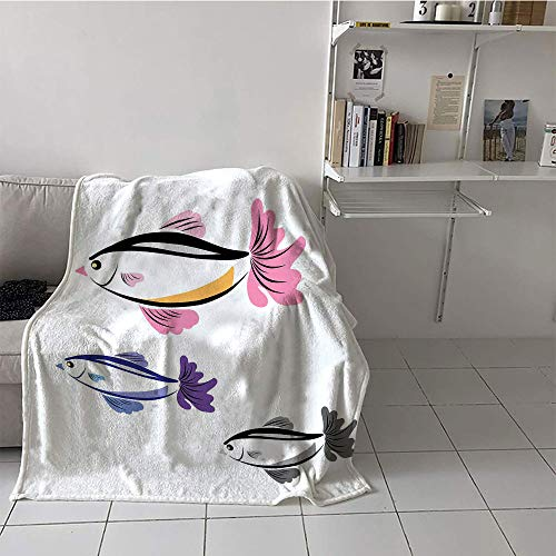 Khaki home Children's Blanket Toddler Warm Blanket (60 by 62 Inch,Fish,Illustrated Marine Aquarium Fishes with The Face of a Bird Hand Drawn,Dried Rose Purple Dimgrey