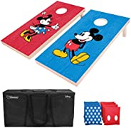 GoSports Regulation Size Solid Wood Cornhole Set - Includes Two 4' x 2' Boards, 8 Bean Bags, Carrying