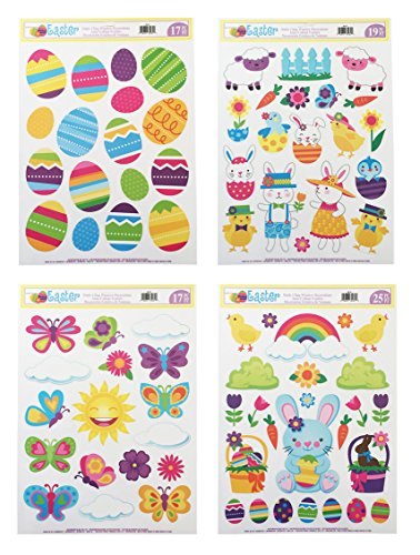 Easter Window Cling Decorations - 4 Large Sheet Sets (Easter Window Decoration)