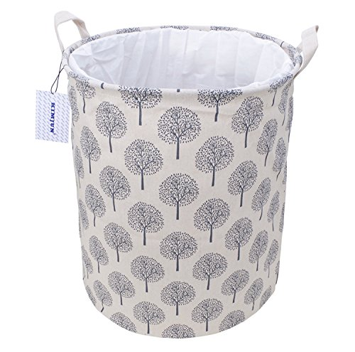 Kimjun Multifunktionale Faltbare Wäschekörbe Baumwolle Leinen Wäschebox Wäschesammler Kinder Spielzeug Aufbewahrungskorb Aufbewahrungsbox mit Deckel Baum Beige