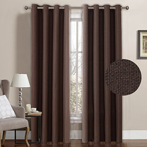 H.Versailtex Classical Grommet Top Room Darkening Thermal Insulated Heavy Weight Textured Tiny Plaid Linen Like Innovated Indoor Curtains,52 by 96 Inch-Cocoa Brown (1 Panel)