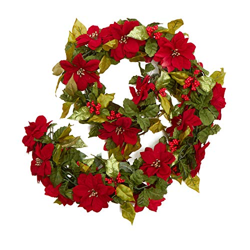 Factory Direct Craft Red and Green Glittered Poinsettia Garland | Christmas Decoration